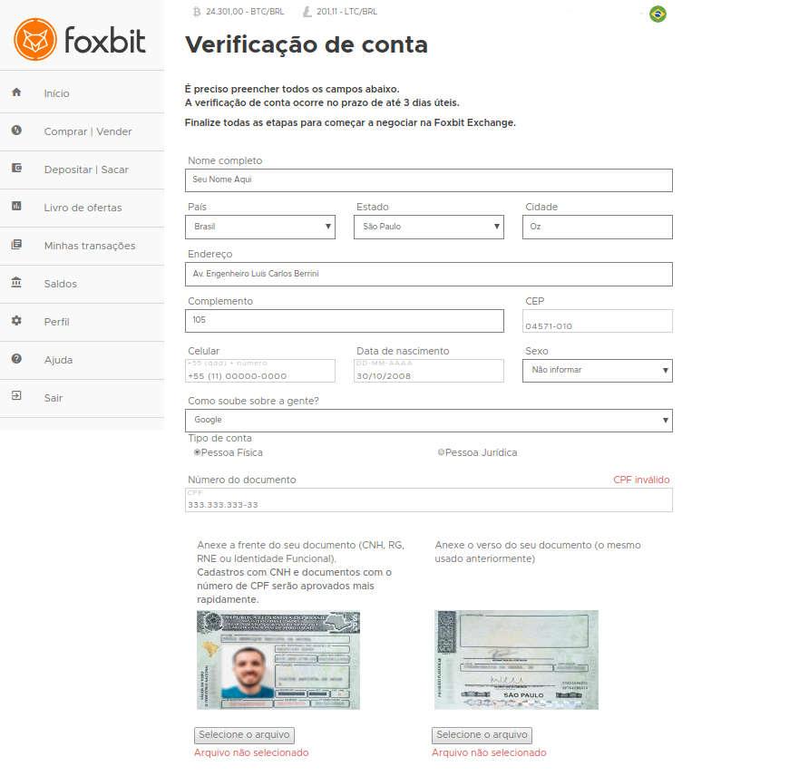 verificação de conta na foxbit