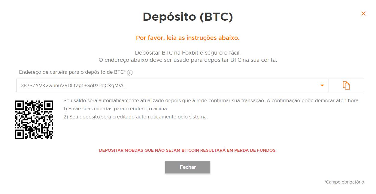 como depositar bitcoin na foxbit
