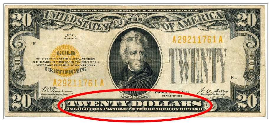 dólar resgatável em ouro