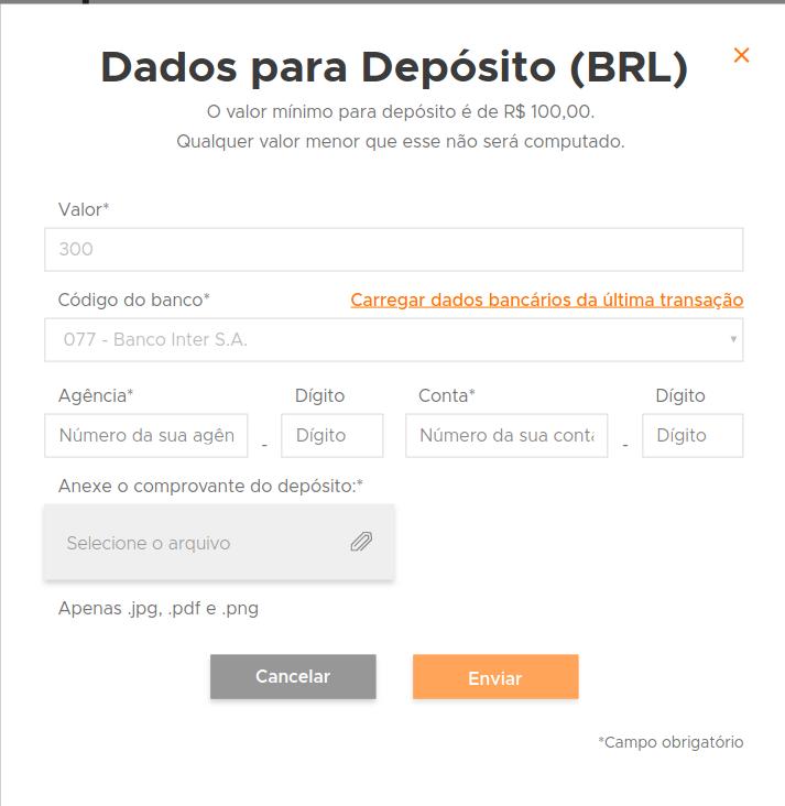 Depósito de bitcoin na Foxbit
